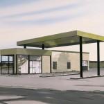 Tankstation 2016 50 x 70 cm. acryl op MDF